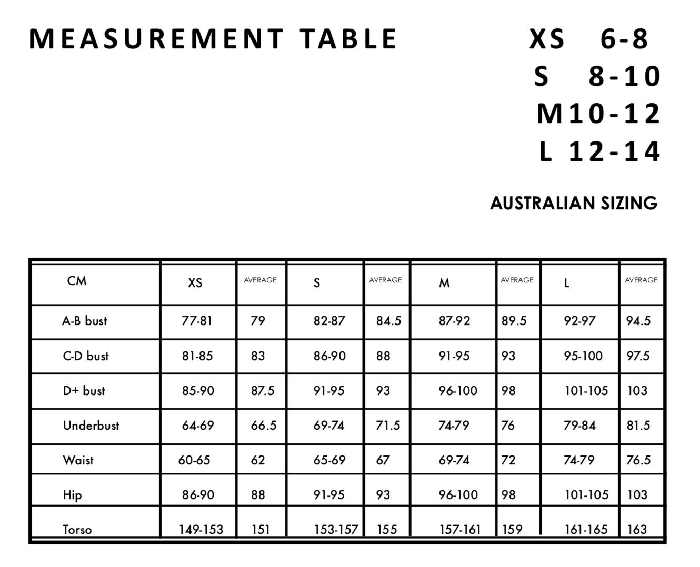 size chart seapia